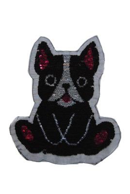 Hund schwarz / weiss / pink zum aufnähen