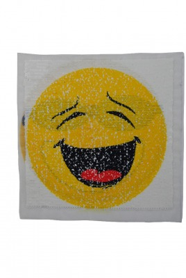 Smiley gelb / schwarz / rot zum aufnähen