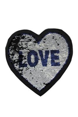 Herz Love silber / dunkelblau zum aufnähen