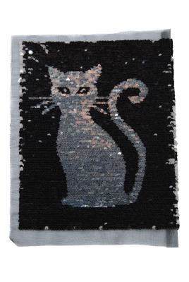 Katze schwarz / silber zum aufnähen
