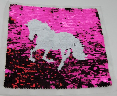 Pferd pink /weiss und silber / schwarz zum aufnähen