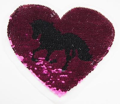 Herz mit Pferd berry/schwarz silber/weiss zum aufnähen