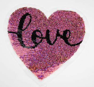 Herz Love silber / schwarz / rose glitzernd zum aufnähen