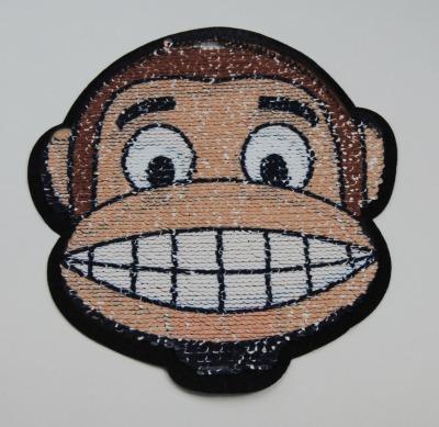 Affe beige braun weiss zum aufnähen