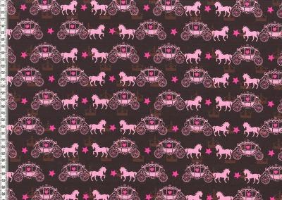 60195 Jersey Stretch Pferde braun rosa pink