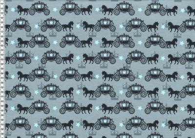 60206 Jersey Stretch Pferde Kutsche grau