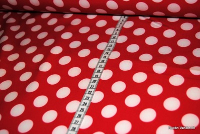 7557 Outdoorstoff Softshell rot weiß Punkte Dots