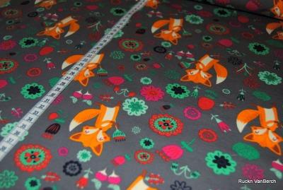 6344 Jersey Stretch grau mint Fuchs Fox Flower