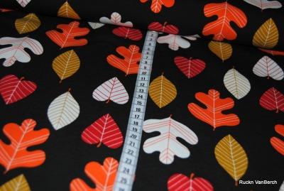 60277 Jersey Stretch Blatt Blätter Herbst braun