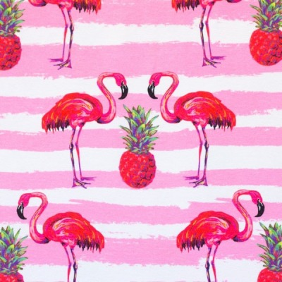 60619 Jersey Stretch Flamingo Ananas rosa pink