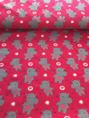 60651 Jersey Stretch Nilpferd Hippo pink grau