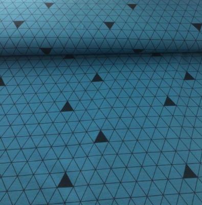 60667 Jersey Stretch Dreiecke petrol schwarz