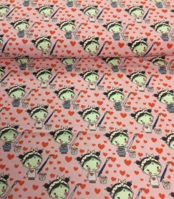 60699 Jersey Stretch Stoff Lovely Girls rosa