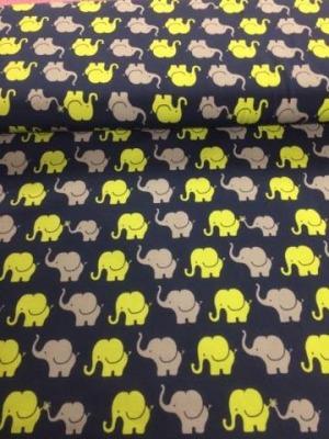 60710 Jersey Stretch Elefantenparade blau apfelgrün