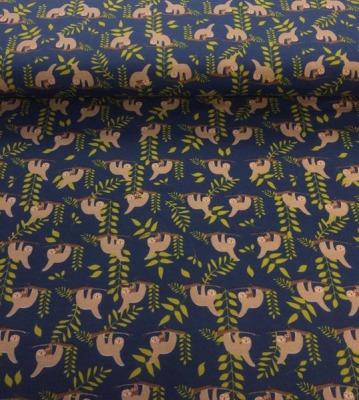 60716 Jersey Stretch Faultiere am Ast blau