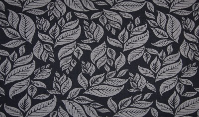 70337 Jersey Jacquard Blätter Leaves dunkelgrau