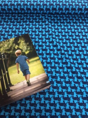 60811 Jersey Stretch Elefantenparade Jolijou türkis dunkelblau