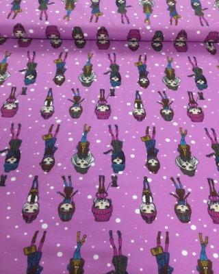 60349 Stoff Jersey Stretch Shopping Girls violett