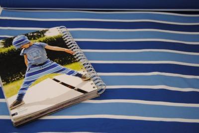 60833 Jersey Stretch Blockstreifen blau weiss