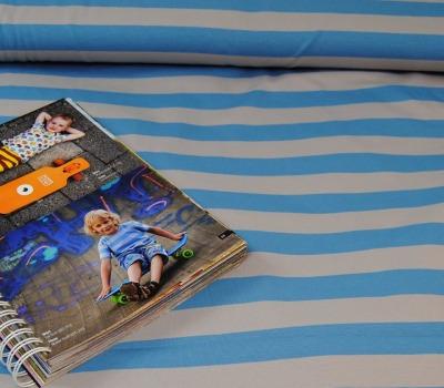 60836 Jersey Stretch Blockstreifen hellgrau blau