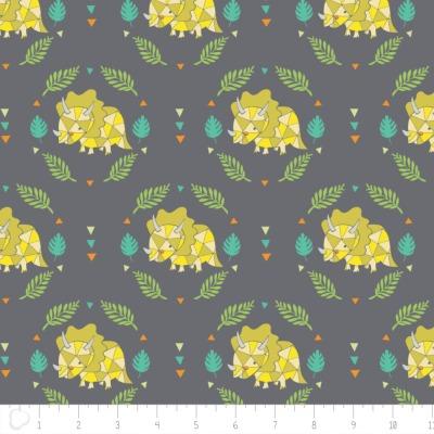50153 Baumwolle USA Dino Mite grau Blätter cool