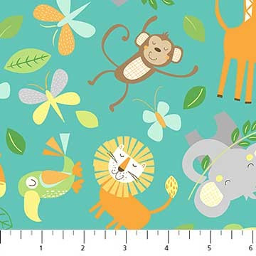 50155 Baumwolle USA Jungle Friends Elefant Affe