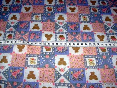 Baumwolle Stoff mit Blumen und Bären