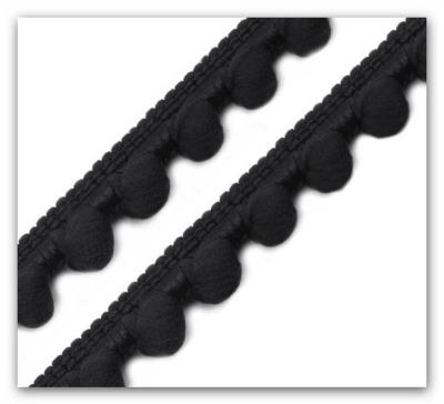 3042 Mini Bommelborte Pompom schwarz