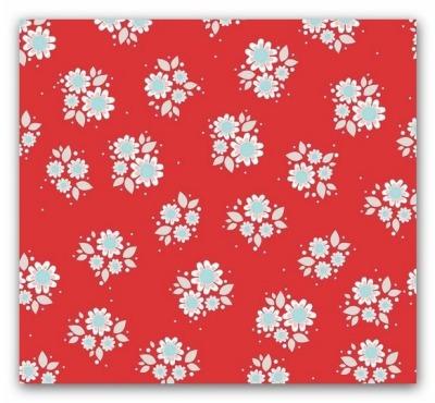 5517 Twice as nice Stoff Blumen Flower rot USA