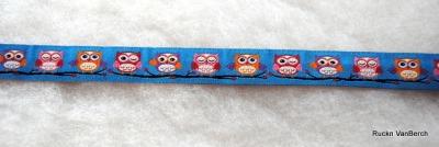 3324 Webband Eule Owl blau 15mm