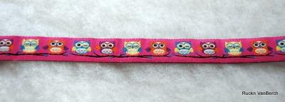 3325 Webband Eule Owl rosa 15mm