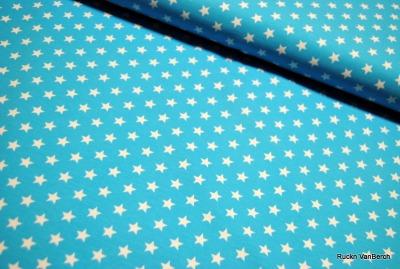 60401 Jersey Stretch Sterne Stars türkis aqua weiß
