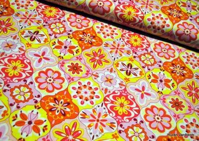 5766 Baumwolle Riley Blake Splendor Stoff rosa gelb orange