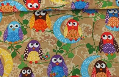 5774 Baumwolle What a Hoot Eule Owl USA braun