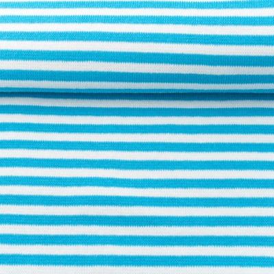 6788 Ringelbündchen Schlauchware türkis weiß