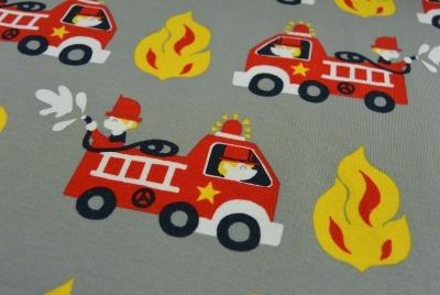 60704 Baumwolljersey Jersey Stretch Feuerwehr Feuer Flamme grau