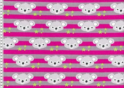 70091 Sweat Stretch Cuddly Panda & Streifen grau pink