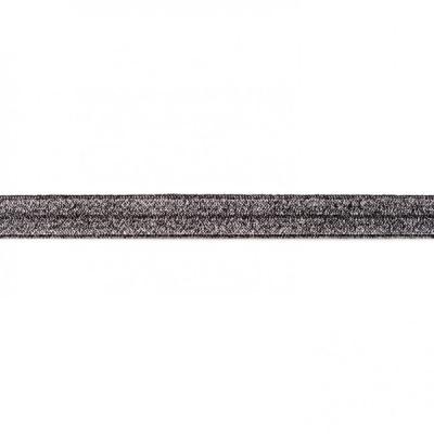 3419 Einfassband elastisch dklgrau Glitzer 15mm