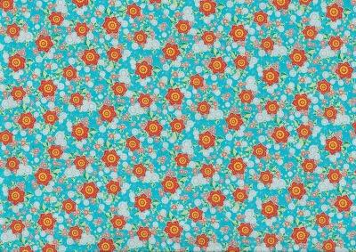5956 Baumwolle Stoff Flowerparade Blumen türkis