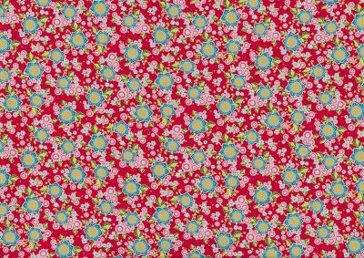 5957 Baumwolle Stoff Flowerparade Blumen rot