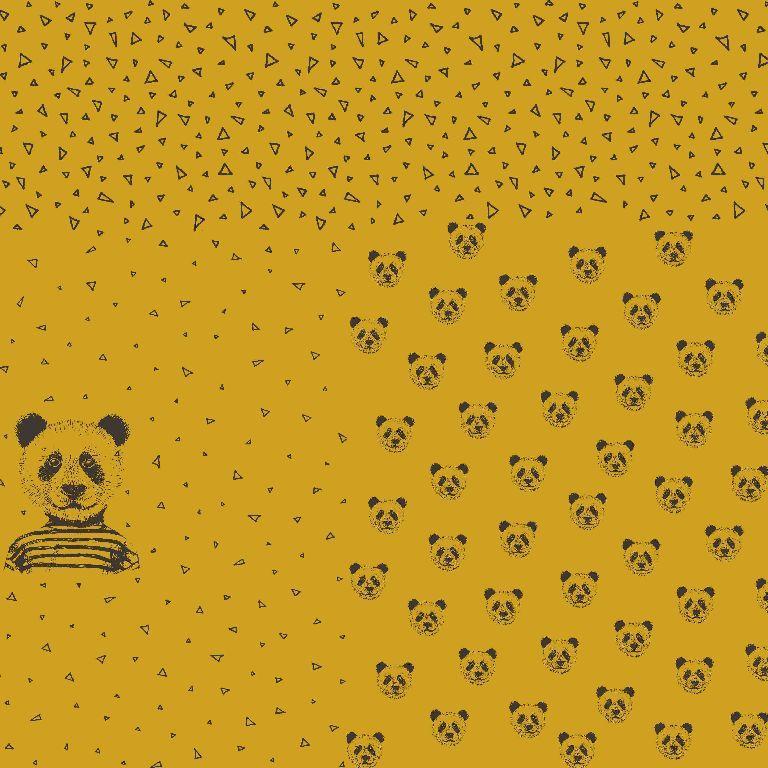 Jersey Stoff Panda senfgelb Panel