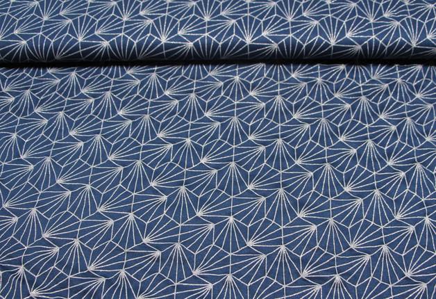 Jersey Viskose Mies Moos Shells Glitter blau