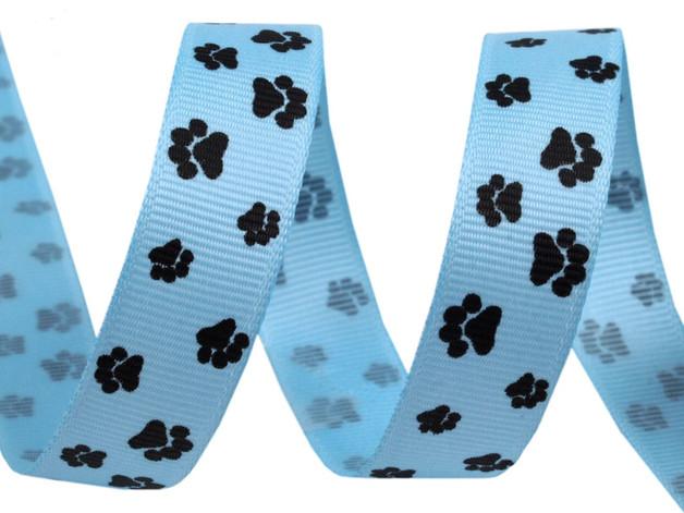 Ripsband mit Tatzen hellblau
