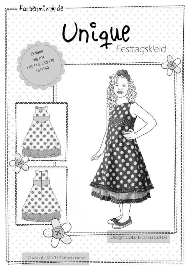 Unique Festtagskleid Farbenmix Schnittmuster Kleid