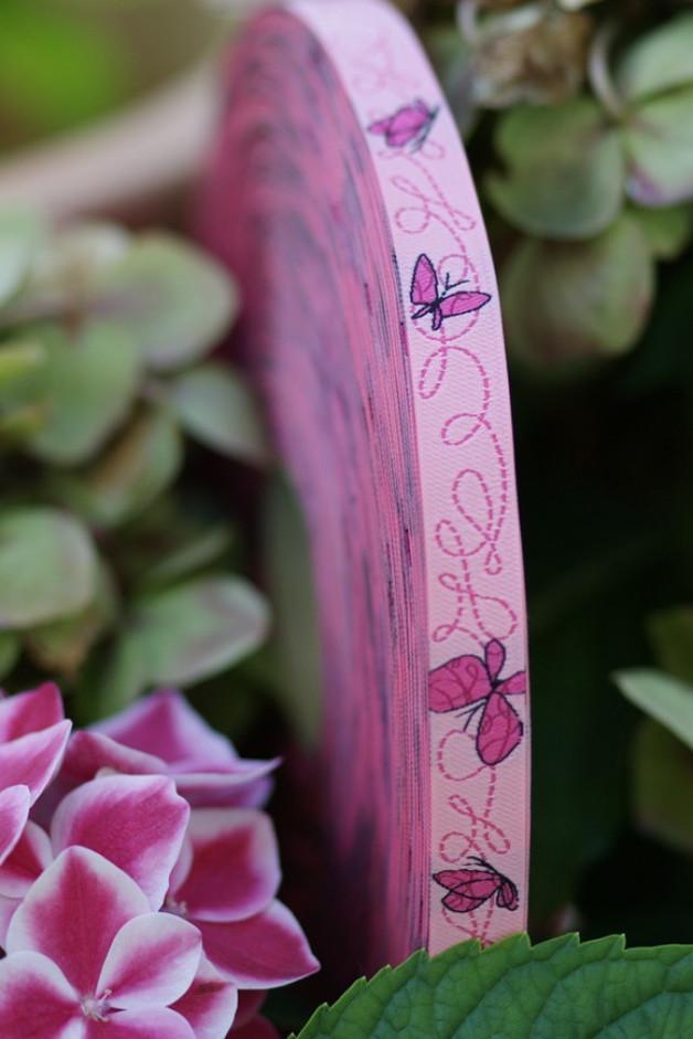 Webband Farbenmix Schmetterlinge pink