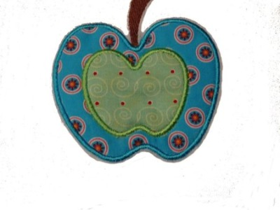 Apfel Aufnaeher Applikation blau gruen retro