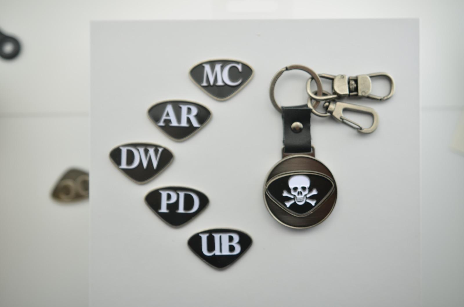 Personalisierbarer Schlüsselanhänger Totenkopf Initialien AA bis - 2