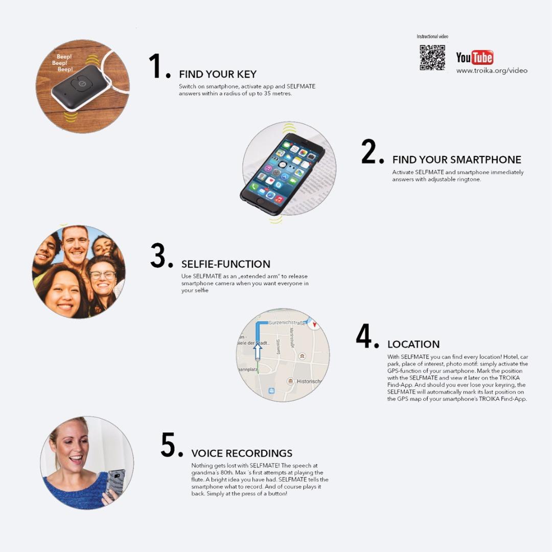 Bluetooth-Finder Selfmate - Smartphone-/Schlüsselfinder Selfie-Fernauslöser - 3