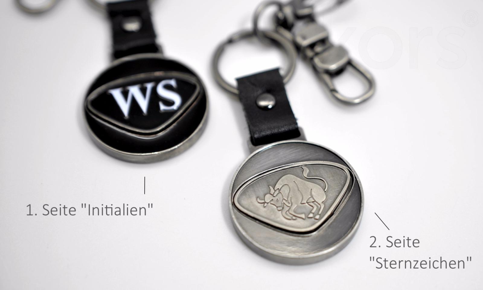 Personalisierbarer Schlüsselanhänger Steinbock Initialien AA bis ZZ - 1