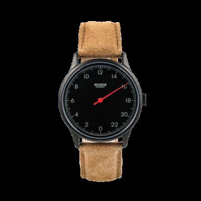 24 Std. WUNDRWATCH Black Caramel - Zeit neu definieren ganz natuerlich. Die Uhr aus dem Hause Wundr ist etwas ganz besonderes. Die Wundrwatch hat nur einen Zeiger und zeigt die 24 Std. des Tages auf dem Zifferblatt.